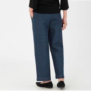 muji wide leg denim pants